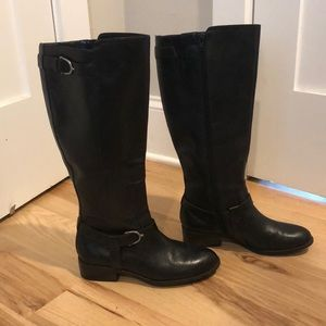 Black tall riding boots